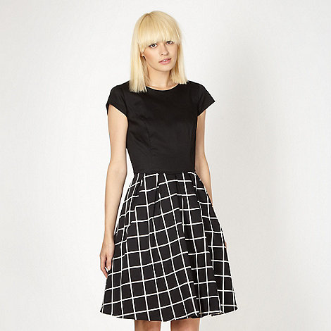 Red Herring - Black sateen checked prom dress