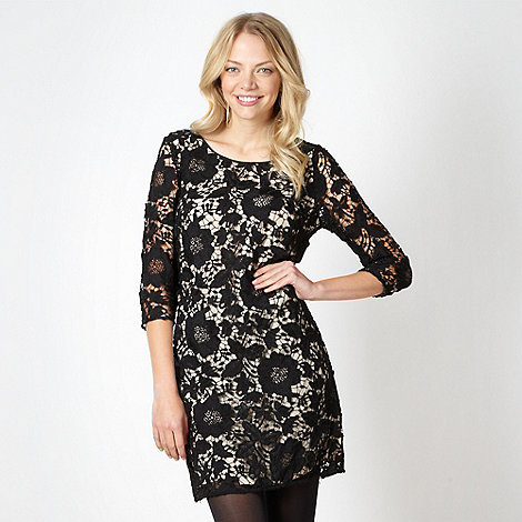 Red Herring - Black floral lace shift dress