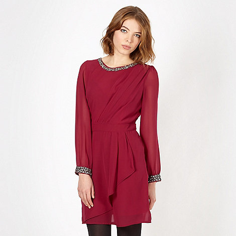 Red Herring - Wine chiffon embellished dress