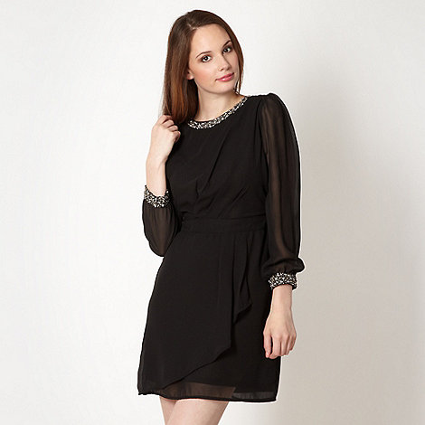 Red Herring - Black embellished tulip dress