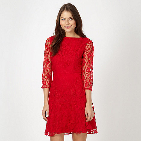 Red Herring - Red lace skater dress