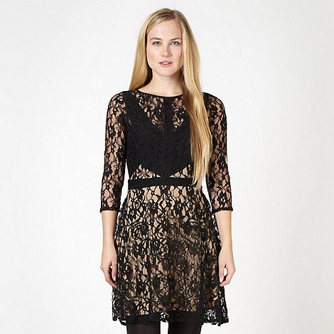 Red Herring - Black lace skater dress