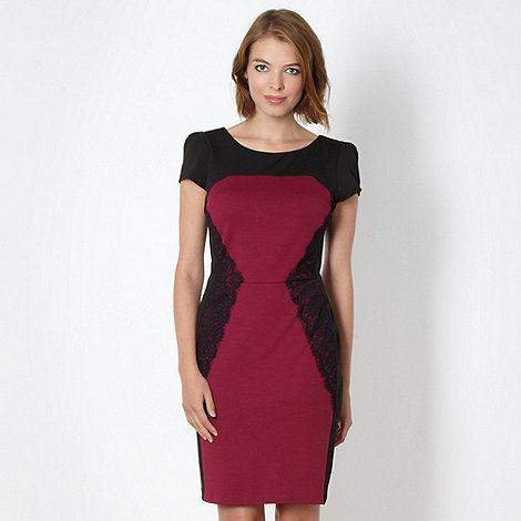 Red Herring - Wine lace panel dress