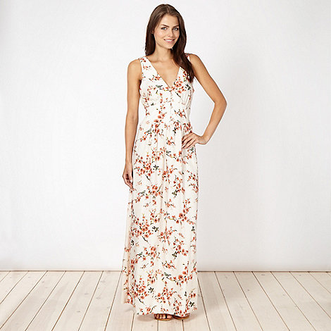 Red Herring - Cream blossom printed maxi dress