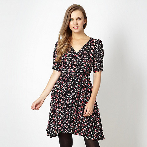 Red Herring - Black ditsy tea dress