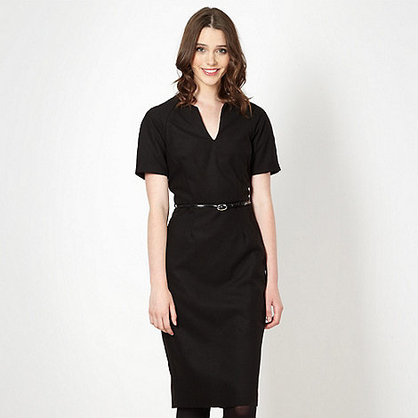 Red Herring - Black textured belted dress