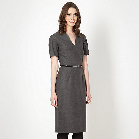 Red Herring - Grey textured belted dress