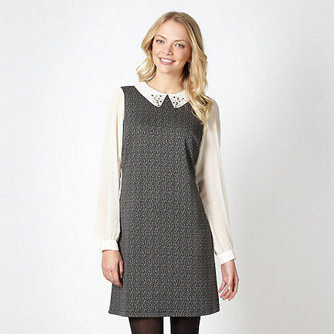Red Herring - Grey chiffon sleeve pinafore dress
