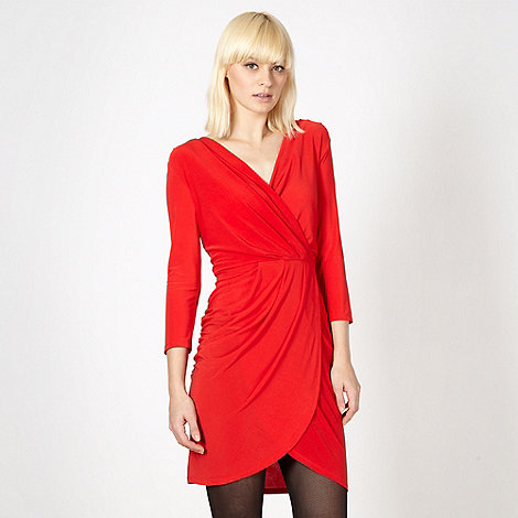 Red Herring - Red wrap front jersey dress