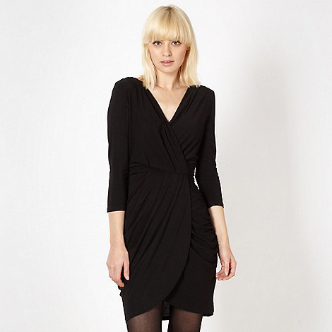 Red Herring - Black wrap front jersey dress