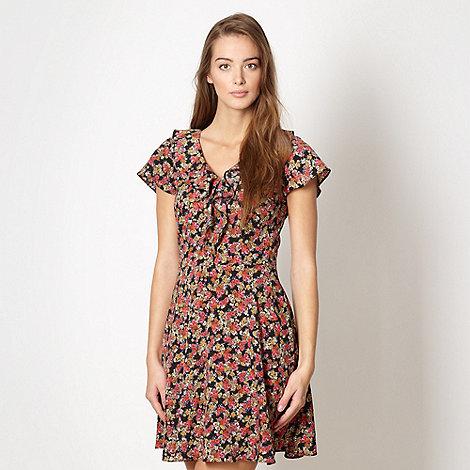 Red Herring - Black frilled tea dress
