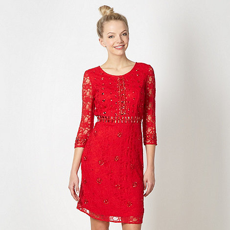 Red Herring - Red jewelled lace dress