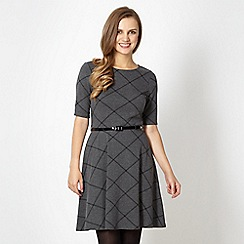 Red Herring - Grey large checked skater dress