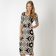 Black belted ikat print jersey dress