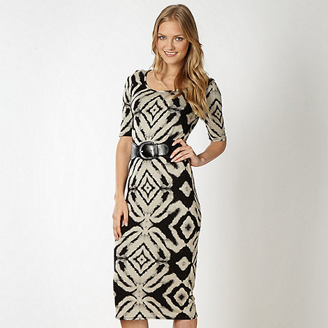Red Herring - Black belted ikat print jersey dress