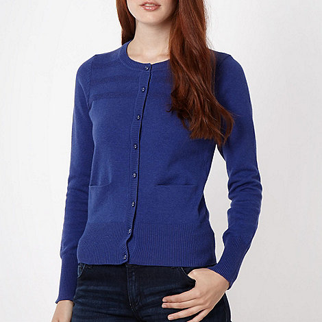 Red Herring - Royal blue tuck stitch cardigan