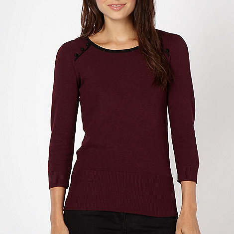 Red Herring - Winter berry button trimmed jumper