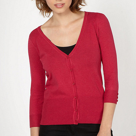 Red Herring - Dark pink V neck cardigan