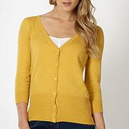 Dark yellow V neck cardigan