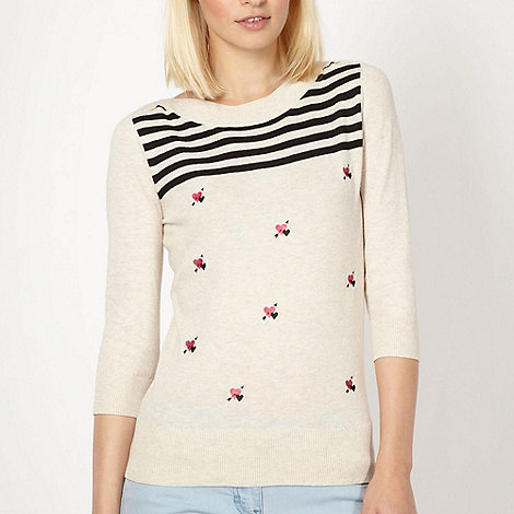 Red Herring - Beige embroidered heart jumper