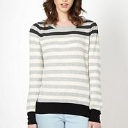Light grey multi stripe jumper