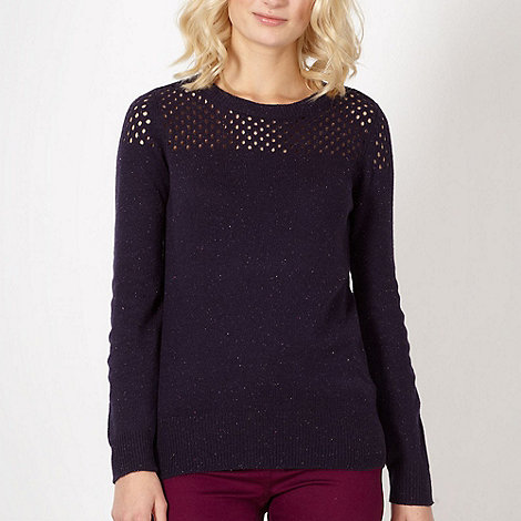 Red Herring - Navy crochet flecked knitted jumper