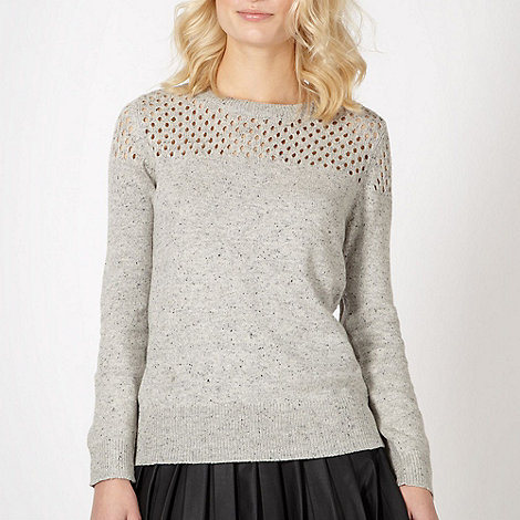 Red Herring - Grey crochet flecked knitted jumper