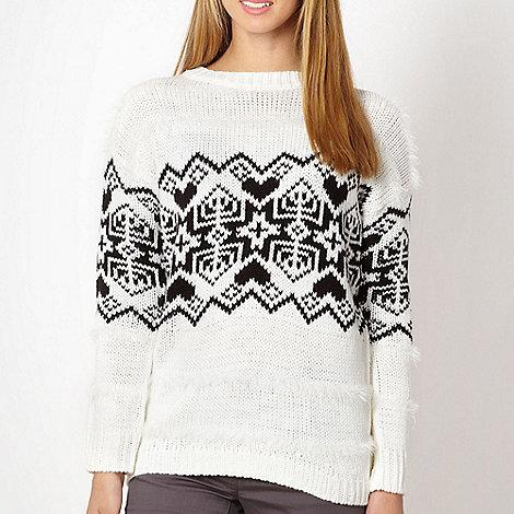 Red Herring - Light cream fairisle knit jumper