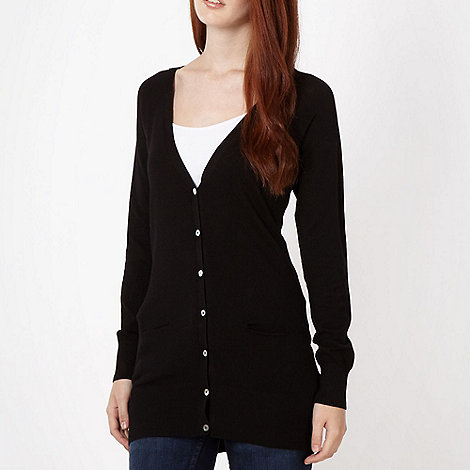 Red Herring - Black longline V neck cardigan