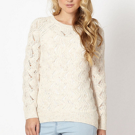 Red Herring - Cream pearl beaded knit jumper