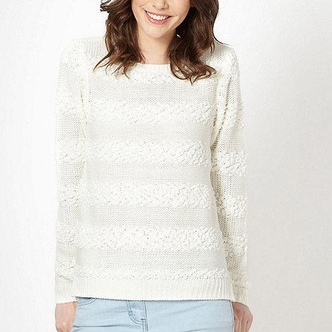 Red Herring - Cream textured stripe knit jumper