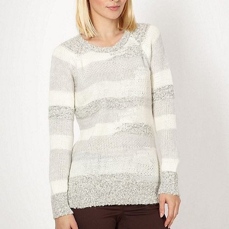 Red Herring - Cream textured striped jumper