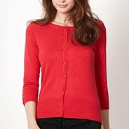 Red crew neck cardigan