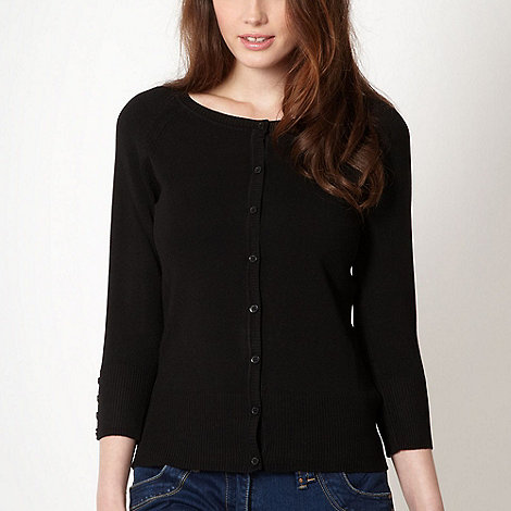 Red Herring - Black crew neck cardigan