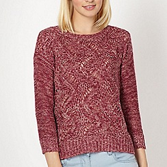 Red Herring - Dark pink textured knit jumper