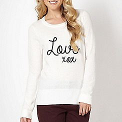 Red Herring - Off white 'Love' jumper