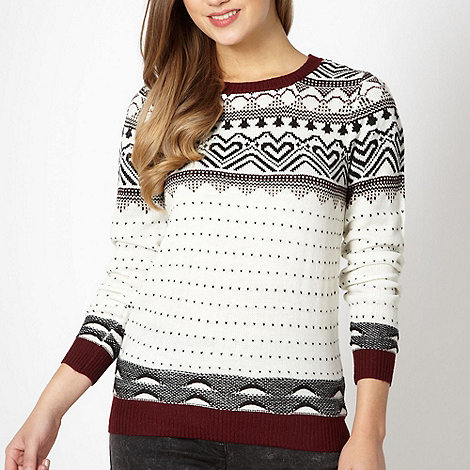 Red Herring - Cream patterned knitted jumper