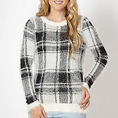 Red Herring - Ivory checked eyelash jumper