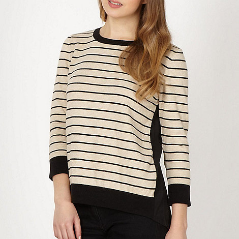 Red Herring - Camel striped woven back jumper