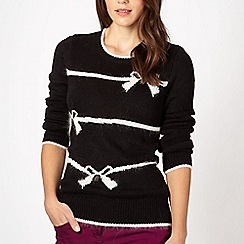 Red Herring - Black striped and bow knit jumper