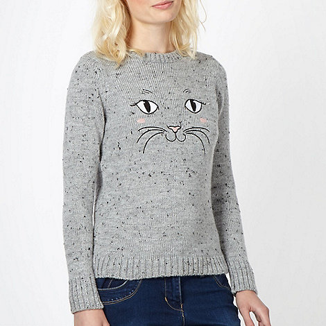 Red Herring - Grey cat face jumper