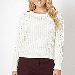 Red Herring - Light cream cable knit cropped jumper