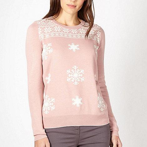 Red Herring - Pink snowflake knit jumper