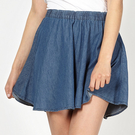 Red Herring - Blue chambray skater skirt