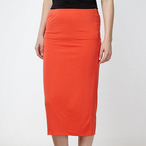 Red Herring - Dark orange jersey pencil skirt