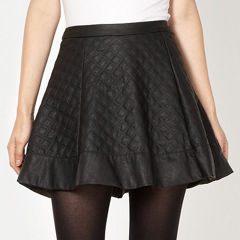 Red Herring - Black quilted PU skater skirt