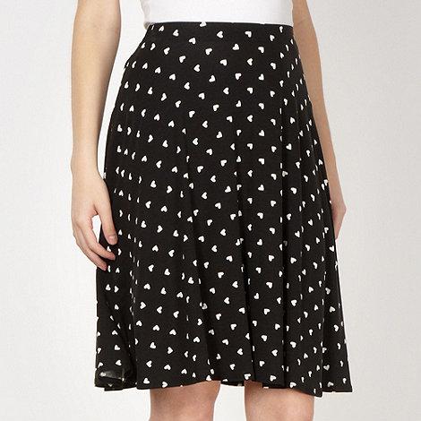 Red Herring - Black heart patterned jersey skirt