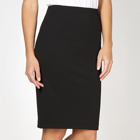 Red Herring - Black textured pencil skirt