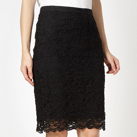 Red Herring - Black lace pencil skirt