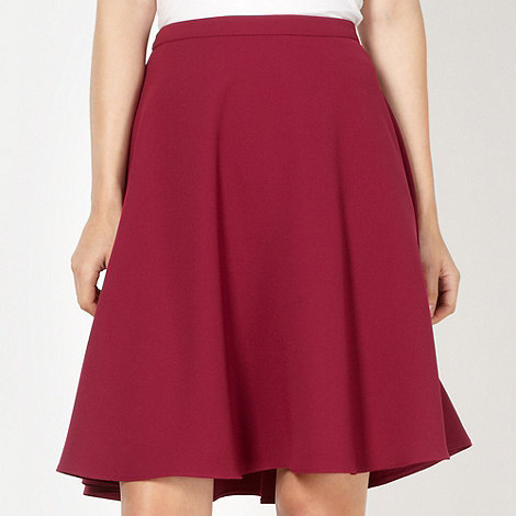 Red Herring - Wine crepe flared skirt